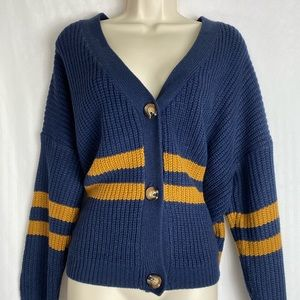 Debut Chunky Knit Cardigan Button Striped Medium